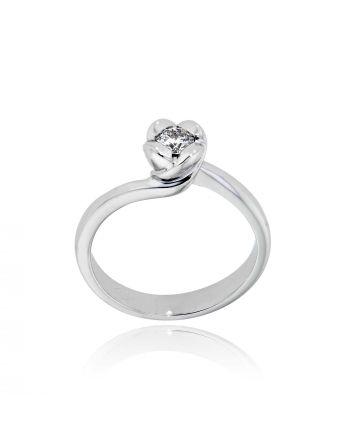 Μονόπετρο Δαχτυλίδι Λευκό Χρυσό 18 Καρατίων Κ18 με Διαμάντι LR108