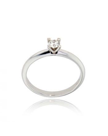 Μονόπετρο Δαχτυλίδι από Λευκό Χρυσό 18 Καρατίων με Διαμάντι Μπριγιάν LR233