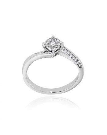 Μονόπετρο Δαχτυλίδι Diamond Jools από Λευκό Χρυσό 18 Καρατίων με Διαμάντια Μπριγιάν EM017