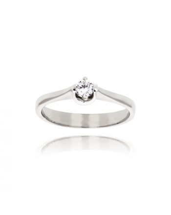 Μονόπετρο Δαχτυλίδι από Λευκό Χρυσό Κ9 με Διαμάντι 035099