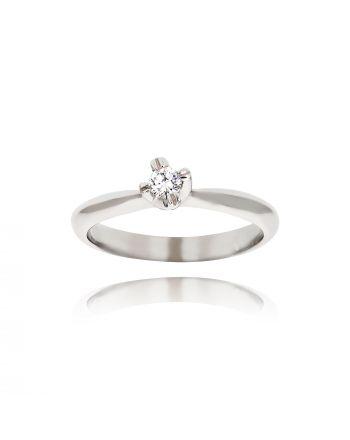 Μονόπετρο Δαχτυλίδι από Λευκό Χρυσό Κ9 με Διαμάντι 035101