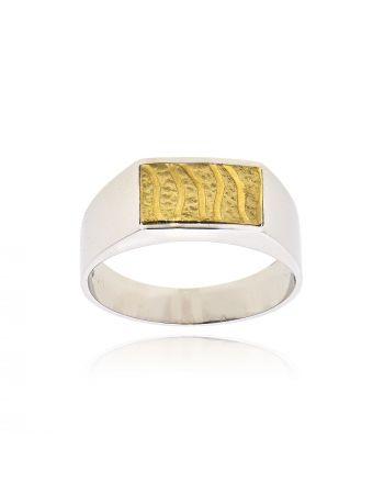 Δαχτυλίδι Ανδρικό Val΄Oro από Λευκό και Κίτρινο Χρυσό Κ14 035196