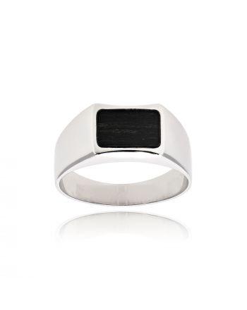 Δαχτυλίδι Ανδρικό Val΄Oro από Λευκό Χρυσό Κ14 με Έβενο 035197