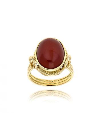 Δαχτυλίδι από Κίτρινο Χρυσό Κ18 με Αχάτη 035212