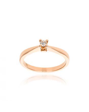 Μονόπετρο Δαχτυλίδι από Ροζ Χρυσό Κ18 με Διαμάντι 035344