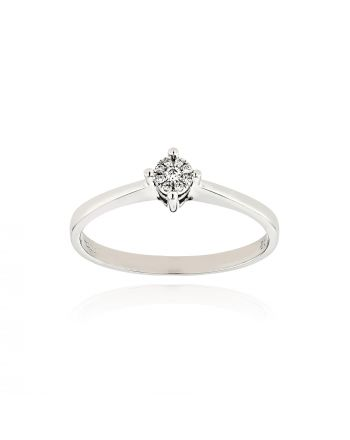 Μονόπετρο Δαχτυλίδι Diamond Jools από Λευκό Χρυσό Κ18 με Διαμάντι EM162