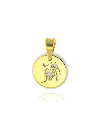Μενταγιόν Ζώδιο Λέων απο Κίτρινο Χρυσό Κ14 με Κεραμικό 035505