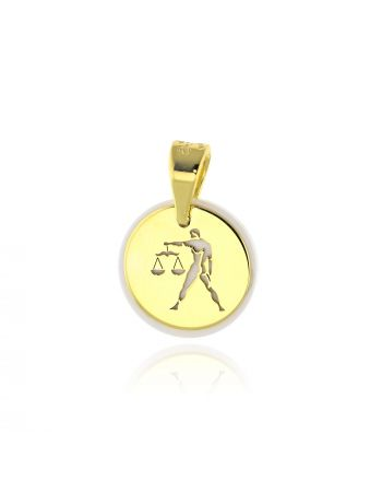 Μενταγιόν Ζώδιο Ζυγός απο Κίτρινο Χρυσό Κ14 035523