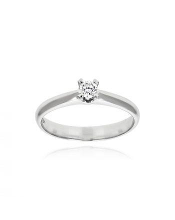 Μονόπετρο Δαχτυλίδι από Λευκό Χρυσό Κ18 με Διαμάντι 036483