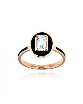 Δαχτυλίδι από Ροζ & Μαυρο Χρυσό Κ14 με Ακουαμαρίνα 036712