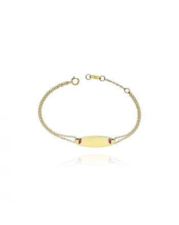 Παιδικό Βραχιόλι Ταυτότητα απο Κίτρινο Χρυσό Κ09 με Σμάλτο 036759