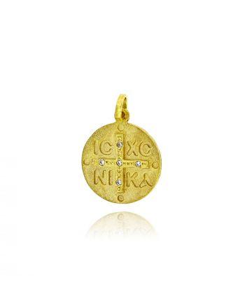 Μενταγιόν απο Κίτρινο Χρυσό Κ09 με Πέτρες Ζιργκόν 037107