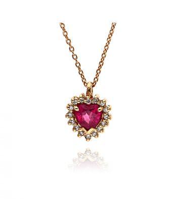 Μενταγιόν FaCad΄oro με Αλυσίδα απο Ροζ Χρυσό 18 Καρατίων με Διαμάντια και Ρουμπίνι RI-S-2351-K