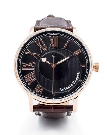 Ανδρικό Ρολόι Antonio Boggati Couple La Paris με Καφέ Δερμάτινο Λουράκι 037407