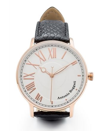 Ανδρικό Ρολόι Antonio Boggati Couple La Paris με Μαύρο Δερμάτινο Λουράκι 037416