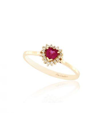 Δαχτυλίδι FaCad΄oro από Ροζ Χρυσό Κ18 με Διαμάντια και Ρουμπίνι RI-S-2351