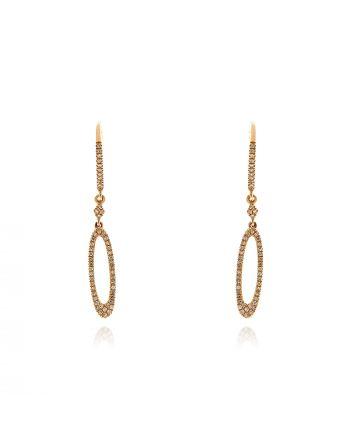 Σκουλαρίκια από Ροζ Χρυσό 14 Καρατίων με Διαμάντια 037635