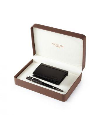 Σετ Στυλό και Δερμάτινη Θήκη για Κάρτες Jos Von Arx Prestige 037740