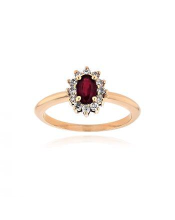 Δαχτυλίδι από Λευκό  Χρυσό Κ18 με Διαμάντια και Ρουμπίνι 038528