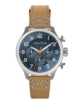 Ρολόι Nautica BFD 101 Quartz με Χρονογράφο & Ταμπά Δερμάτινο Λουράκι A14699G