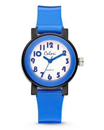 Παιδικό Ρολόι Colori για Αγόρι Quartz με Μπλε Λουράκι Σιλικόνης CLK053