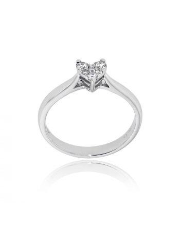 Μονόπετρο Δαχτυλίδι Diamond Jools  Λευκό Χρυσό 18 Καρατίων Κ18 με Διαμάντια Μπριγιάν EM051