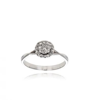 Μονόπετρο Δαχτυλίδι Diamond Jools από Λευκό Χρυσό Κ18 με Διαμάντια EM09
