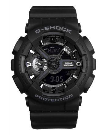 Ρολόι Casio G-Shock Quartz με Μαύρο Λουράκι από Καουτσούκ GA-110-1BER