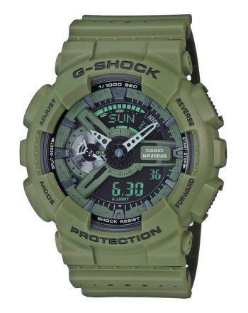 Ρολόι Casio G-Shock Quartz με Χακί Λουράκι Ρητίνης GA-110LP-3AER