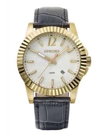 Ρολόι Gregio Felicity Quartz με Ανθρακί Δερμάτινο Λουράκι GR101071