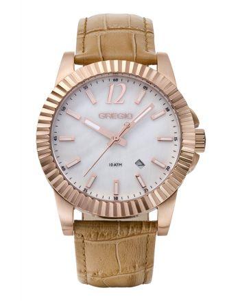Ρολόι Gregio Felicity Quartz με Καφέ Δερμάτινο Λουράκι GR101081