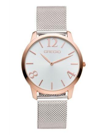 Ρολόι Gregio Simple Rose Quartz με Ασημί Μπρασελέ GR112039