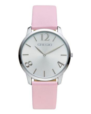 Ρολόι Gregio Simple Rose Quartz με Ροζ Δερμάτινο Λουράκι GR112062
