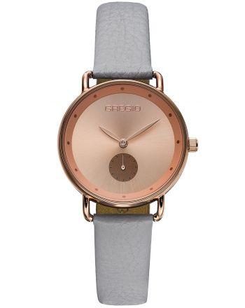 Ρολόι Gregio Chrystie Quartz με Γκρί Δερμάτινο Λουράκι GR140081
