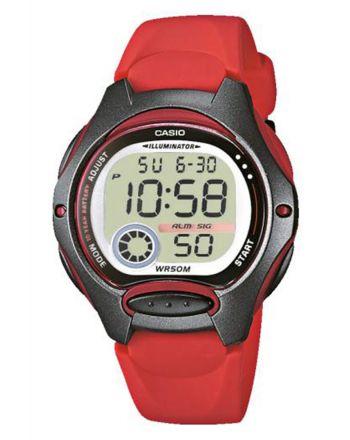 Ψηφιακό ρολόι Casio Quartz με Κόκκινο Λουράκι Ρητίνης LW-200-4AVEG
