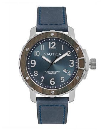 Ρολόι Nautica NMS 01 Quartz με Μπλε Δερμάτινο Λουράκι NAD15012G