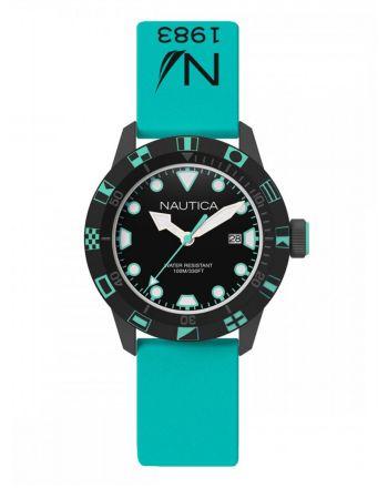Ρολόι Nautica NSR 100 Flags Quartz με Τυρκουάζ Λουράκι Σιλικόνης NAI11518G