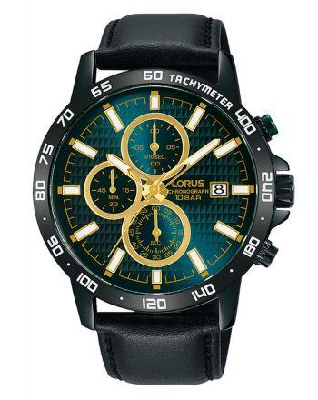 Ανδρικό Ρολόι Lorus με Μαύρο Δερμάτινο Λουράκι RM319GX
