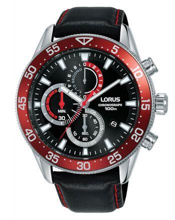 Ανδρικό Ρολόι Lorus με Μαύρο Δερμάτινο Λουράκι RM345FX