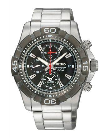 Ρολόι Seiko Quartz από Ανοξείδωτο Ατσάλι με Χρονογράφο SNAE25P1