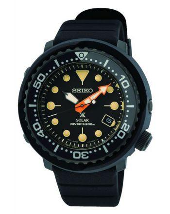 """Αντρικό Ρολόι Seiko Prospex Black Series """"""""Tuna""""""""  Ηλιακό με Λουράκι από Σιλικόνη SNE577P1"""