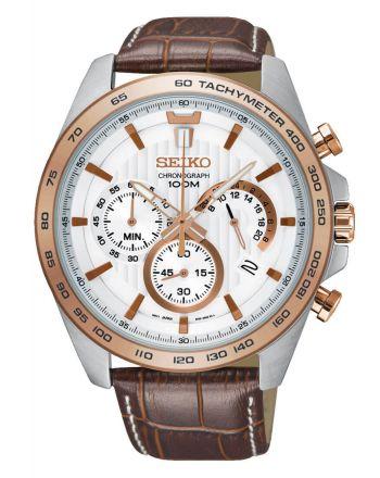 Ανδρικό Ρολόι Seiko με Καφέ Δερμάτινο Λουράκι SSB306P1