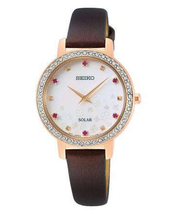 Ρολόι Seiko Ηλιακό με Δερμάτινο Λουράκι και Κρύσταλλα SUP450P1