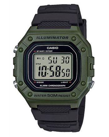 Ψηφιακό ρολόι Casio Quartz με Μαύρο Λουράκι Ρητίνης W-218H-3AVEF