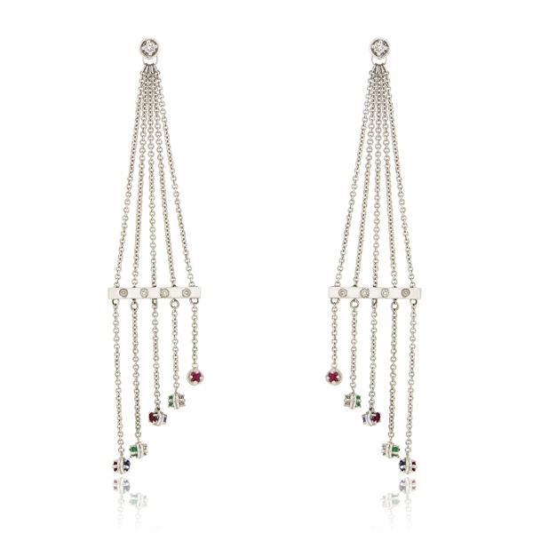 Σκουλαρίκια Κρεμαστά από Λευκό Χρυσό Κ18 με Διαμάντια Μπριγιάν και Πολύτιμες Πέτρες, Κωδ. 001879