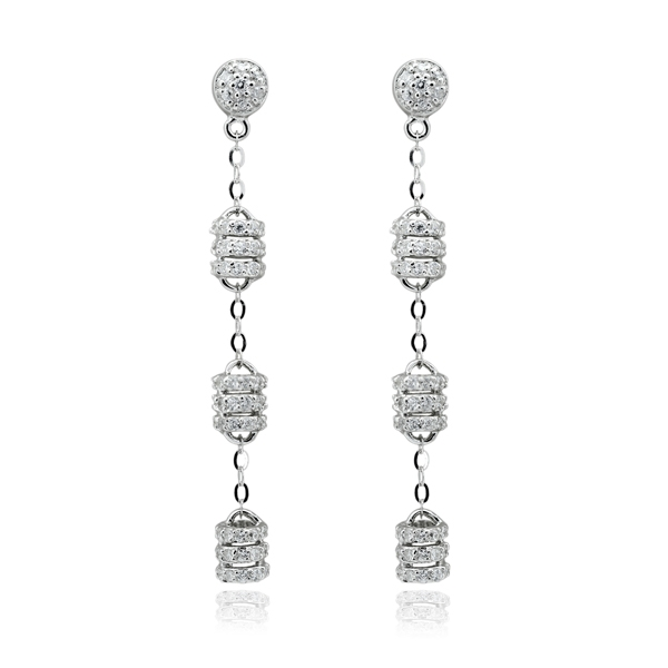 Σκουλαρίκια Κρεμαστά από Ασήμι 925 με Ζιργκόν, Κωδ. 028226