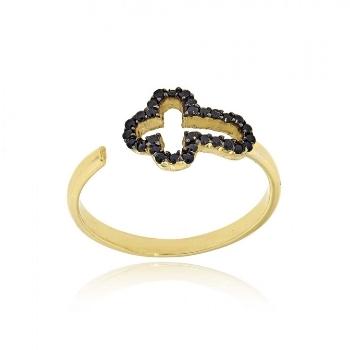 Δαχτυλίδι Σταυρός από Κίτρινο Χρυσό 14 Καρατίων Κ14 με Πέτρες Ζιργκόν 018981