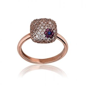 Δαχτυλίδι Ροζ Χρυσό 14 Καρατίων Κ14 με Ζιργκόν 024376