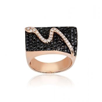 Δαχτυλίδι Σεβαλιέ Ροζ Χρυσό 18 Καρατίων Κ18 με Διαμάντια Μπριγιάν 021965
