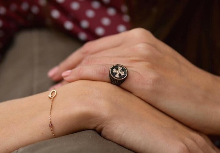 Δαχτυλίδι Σεβαλιέ Ροζ Χρυσό 14 Καρατίων Κ14 με Πέτρες Ζιργκόν 019502